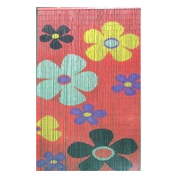 "Bamboo54 - Bamboo Kids Flower Scene - Bamboo54 kids flower scene is made from authentic bamboo and hand strung. One curtain contains 90 strands across and is the perfect door hanging accessory. Hand painted on both sides. Measures approximately 36"" x 80"""