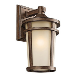 BUILDER - KICHLER 49072BSTFL Atwood Energy Efficient Transitional Outdoor Wall Sconce - The simple transitional style of this 1 light fluorescent wall lantern from the Atwood family is perfect for today's traditional architecture. The subtle tone of the Brownstone finish and Light umber seedy glass coordinate beautifully. Everything about this tapered round lantern from its cast aluminum rings to its stepped canopy make it an ideal complement to your home.  Meet Energy Star and Title 24 requirements. Rated for wet locations. Photocell Included.