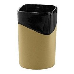 Gedy - Black/Mustard Pottery Toothbrush Holder - Contemporary square black/mustard pottery countertop toothbrush holder.