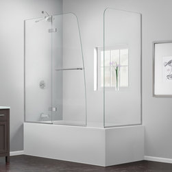 """Dreamline - Aqua Ultra 56 to 60""""W x 30""""D x 58""""H Hinged Tub Door w/ Return Panel - The Aqua Ultra Tub Door with Return Panel creates a beautiful bathtub enclosure for an amazing value. The Aqua Ultra shines with a frameless design and a striking curved silhouette that is far from ordinary. The innovative wall profile provides out-of-plumb adjustment during installation. The Aqua Ultra Tub Door with Return Panel delivers a healthy dose of fresh style to your bath space."""