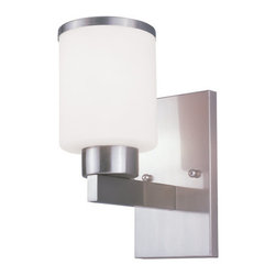 Z-Lite - Z-Lite 312-1S Cosmopolitan 1 Light Wall Sconce - For a cutting edge modern fixture, look no further than this wall sconce. A milk white shade is complimented with a brushed nickel band, and accented with a modern styled wall mount.Specifications: