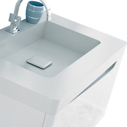 "Macral - Code Bathroom Vanity 31.5"", White gloss - Code Wall-mounted Bathroom Vanity 31.5"" wide. MDF white high gloss lacquered body, and Stonefer white high quality resin counter-top tested against bathroom chemical products - Curved corners. The price ONLY includes the vanity, and the sink. The faucet, the cabinet, or any other item are NOT INCLUDED, but can be sold separately. This vanity has one Big and spacious drawer with soft close, 3 interior drawer divisions to ease your bathroom daily ritual activities. Easy installation. Designed and manufactured in Spain"