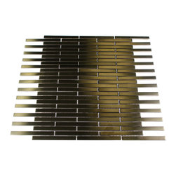"Metal Copper Stainless Steel Stick Brick Tiles - METAL COPPER STAINLESS STEEL 3/8X4 STICK BRICK TILES The clean geometric design with the metal copper stainless steel is chic and visually striking. The tile will provide any room with a sleek, stylish and contemporary appearance. This is a great alternative to use for in a kitchen backsplash, feature wall or as decorative borders. Chip Size: 3/8"" x 4"" Color: Metal Copper Material: Stainless Steel Finish: Matte Sold byt he Sheet - each sheet measures 12"" x12"" (1 sq. ft.) Thickness: 5mm"