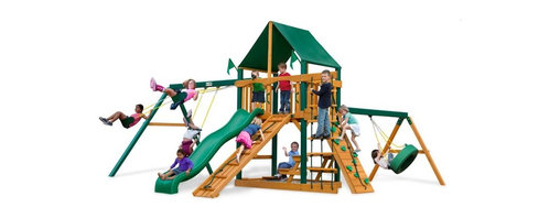 Gorilla Playsets - Gorilla Playsets Frontier Supreme Wood Swing Set with Canvas Green Canopy - 01-0 - Shop for Swings Slides and Gyms from Hayneedle.com! Any pioneer knows that if you're going to go exploring the frontier you first need a fort to establish base camp; and with the Gorilla Playsets Frontier Supreme Wood Swing Set with Canvas Green Canopy your little adventurers will love running outside to survey their claim. After all no one ever said base camp had to be an earthen hovel. The ability to explore and plan fantastical adventures bolsters a bold confidence in your children helping them learn what it means to be a leader. But there's also a much more immediate advantage to this physical play: the play itself. The encouragement to actively play outdoors helps kids develop gross motor skills as well as a natural affinity for fresh air and exercise that will pave the way for a happy and healthy life. The several swings and climbing structures all inspire this kind of kinetic play. This opportunity to get their wiggles out also provides a proper place to blow off steam outside in the fresh air which helps children focus other times when more of their concentration is needed. As kids climb up down and all around this set parents will feel better knowing the children are safe with the securely anchored easy-grip handles and stable square footing. The canopy and the built-in picnic table allow kids to stay outside and play almost all day without you having to worry about them getting too much sun because the canopy is made from all-weather Sunbrella fabric that protects them both from harsh UV rays and even light rain. Kids will also love all the fun extras included with this set such as the steering wheel telescope and sandbox. And since any new frontier is just itching to be claimed there's even a flag kit that allows your children to mark their territory.Additional FeaturesTotal dimensions: 19W x 20D x 11H feetPlatform dimensions: 6W x 4L x 5H feetIncludes ti