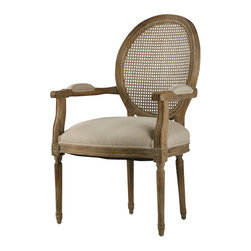 Zentique - Medallion Arm Chair - Natural, Limed Grey - Intricately carved wood detail pairs beautifully with your choice of linen upholstery and painted finishes. The classic armchair looks elegant at the head of your dining table or on either side of a sophisticated sofa. This antique style brings subtle grace to any room in your home.