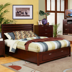"Alpine Furniture - Camarillo Queen Platform Bed with Storage Footboard - Camarillo Queen Platform Bed with Storage Footboard; Merlot Finish; Product Material: Select Solids and Veneer; Come with complete set of slats, no box spring required; Country of Origin: Indonesia; Dimensions: 84.25""L x 63""W x 47.25""H"
