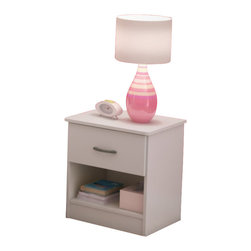South Shore - South Shore Libra Nightstand in Pure White - South Shore - Kids Night Stands - 3050061 -This night stand is both practical and elegant, featuring an easy-access open storage space and a drawer fitted with metal handles in a Pewter finish.