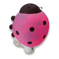 Children`s Pink Ladybug Night Light Nite Lite - This pink ladybug night light adds an adorable accent to your child`s room, while providing just enough light to ease their mind in the dark nighttime hours. Made of cold cast resin, it measures 4 1/2 inches tall, 4 1/2 inches wide, and 2 1/2 inches deep. It has a 360 degree swivel plug to accommodate any outlet, and it uses a 7 watt (max) type C night light style bulb (included). The light has an on/off switch on the front, and is recommended for children ages 6 and up.