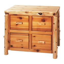 Fireside Lodge Furniture - Cedar 4 Drawer File Log Cabinet - Cedar Collection. 4 Drawers. Rods for hanging file folders. Full-extension ball-bearing glides rated to 100 lbs.. Northern White Cedar logs are hand peeled to accentuate their natural character and beauty. Clear coat catalyzed lacquer finish for extra durability. 2-Year limited warranty. 42 in. W x 22 in. D x 35 in. H (140 lbs.)