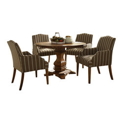 Homelegance - Homelegance Euro Casual 5-Piece Round Pedestal Dining Room Set - With inspiration drawn from traditional French decorative accents the effortlessly elegant Euro Casual collection adds warmth and charm to your dining room. A classic urn pedestal base acts as the sole support for the routed round table top. The rustic weathered finish on the birch veneers hints of time gone by and the complimenting fabric on the wood-framed accenting chairs lends a distinct flair to the collection. Also available in rustic oak finish on Mindy veneers.