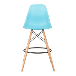Barstool Slope Chair in Aqua - Take iconic mid-century modern design to new heights. Inspired by the classic design aesthetic of our Mid-Century Slope Chair, the Barstool Slope Chair offers stylish modern seating for your counter-height needs. The chair features a smooth polypropylene seat and natural wood dowel legs. We see this chair fitting in at the kitchen island, providing a comfortable seat for late night stacks or kitchen chatter. Available in a variety of vibrant colors, the chair will spruce up your décor without overpowering the room.