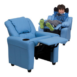 Flash Furniture - Flash Furniture Contemporary Light Blue Vinyl Kids Recliner with Cup Holder - Kids will now be able to enjoy the comfort that adults experience with a comfortable recliner that was made just for them! This chair features a strong wood frame with soft foam and then enveloped in durable vinyl upholstery for your active child. Choose from an array of colors that will best suit your child's personality or bedroom. This petite sized recliner is highlighted with a cup holder in the arm to rest their drink during their favorite show or while reading a book. [DG-ULT-KID-LTBLUE-GG]