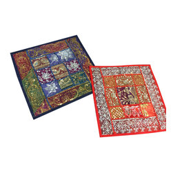 2 Patchwork Beaded Pillows Red Blue Decorative Cushion Covers - http://www.mogulinterior.com/beaded-pillows-red-blue-decorative-cushion-covers.html