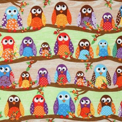 Fabric cute colourful owls fabric What a Hoot USA designer