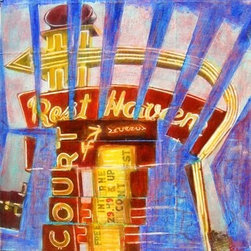 Rest Haven Deconstructed (Original) by Jeffrey  Sass - Route 66 used to be a magical place. Parts of it still are. The Rest Haven in Springfield, Missouri is a relic from those days of road trips and roadside attractions. The work began with a photograph, printed out on paper. It gets the scissors and layers of acrylic paint.  The final piece is on a gallery wrapped canvas. The painting is 12x12 inches.