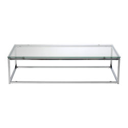 Euro Style - Sandor Coffee Table - Clear Glass/Chrome - The proportions of these three tables (coffee, side and console) are iconic to say the least.  Tops in clear or pure white glass float on perfectly geometric chrome steel bases.  We're talking Museum of Modern art here.  Not really.  But it's the right thing to do.