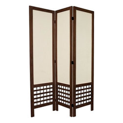 Oriental Furniture - 5 1/2 ft. Tall Open Lattice Fabric Room Divider - Burnt Brown - 3 Panel - This open lattice design floor screen is designed with a traditional wood frame and fabric. The panel frames are slightly heavier and more substantial than most designs, and the cotton panel shades are particularly durable. The open lattice work at the bottom adds an attractive design element, creating both an eye catching piece of furniture as well as an extra solid and durable folding screen.