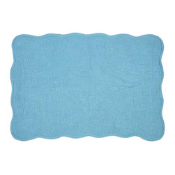 Sky Cloud Mat - The Sky Cloud Mat is fashioned of 100% quilted cotton dyed a gorgeous, calming seafoam blue-green. So soft on your bare feet after a shower, or upon waking up out of your bed, this versatile mat will add stylish comfort to your everyday routine.