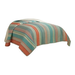 Retro Chic - Amagansett Retro Stripe Full Queen Quilt - Use this brightly colored casual stripe quilt for your master bedroom, guest bedroom or summer cottage.