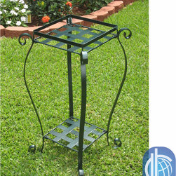 International Caravan - International Caravan Square Iron Plant Stand - Enrich your garden and patio with this iron plant standOutdoor planter includes a second shelf near ground levelPlant stand measures 27 inches high x 15 inches square
