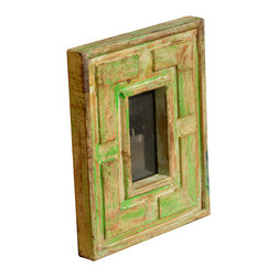 Sierra Living Concepts - Reclaimed Wood Wall Photo Picture Frame, Light Green - Add a retro 60's look to any room with our free standing solid wood picture frame. This hand carved frame has an authentic aged look because it is built with reclaimed hardwood. We carefully select old wood from Gujarat based on color, wood type quality. The surface of our table top photo frame is naturally seasoned by time and weather with no additional paints or stains. The hand cut geometric design is unique, the marks and color variations differ with each frame.