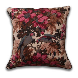 Mary Jane McCarty Studio - Jungle Parrot Pillow, Coco, With Insert - The pillow cover is made from The Mary Jane McCarty Studio collection of fabrics. The fabrics have been  re- created from 19th century document textiles . The pillow is backed with a coordinating natural Belgian linen and features an envelope closure. Please allow 2 to 3 weeks for delivery as pillows are made to order. Can be purchased as cover only or with insert.