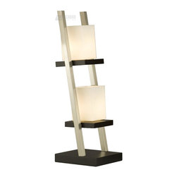 Nova Lighting - Nova Lighting Escalier Contemporary Table Lamp X-31811 - From the Escalier Collection, this Nova Lighting contemporary table lamp features a step design with multiple levels of lights, clean lines and light finishes; all of which create a modern feel. The lights are housed in soft toned frosted glass shades whose rectangular shape compliments the ladder-like frame. A Brushed Nickel finish and Dark Brown Wood hue pulls the look together.