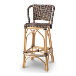 Palecek - Patio Terrace Bar Stool, 30'' - Pole rattan frame and legs. Fully upholstered in high-quality woven plastic that is UV resistant. Limited outdoor use. Suitable for covered patio. Available only as shown