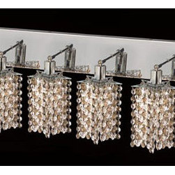 Elegant Lighting - Mini Star Chrome Six-Light Bath Fixture with Royal Cut Golden Teak Smoky and Cle - Royal Cut crystal is a combination of high quality lead free machine cut and machine polished crystals and full-lead machined-cut crystals to meet a desirable showmanship of an authentic crystal light fixture.  -Recommended to be professionally hung and supported independently of the outlet box. Consult an electrician for guidance to determine the correct hanging procedure.  -Crystals may ship separately and some assembly is required.  -Depending on the size & design the assembly can be time consuming, but is well worth the effort. Elegant Lighting - 1386W-O-P-GT/RC