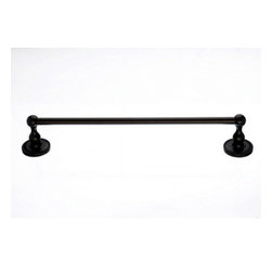"Top Knobs - Edwardian Bath 18"" Single Towel Rod - Oil Rubbed Bronze - Beaded Back Plate - Length - 20 1/2"", Projection - 3 3/8"", Center to Center - 18"", Bar Stock Diameter - 5/8"""