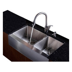 Kraus - 36 in. Farmhouse Double Bowl Sink with Faucet and Soap Dispenser - Add an elegant touch to your kitchen with unique Kraus kitchen combo
