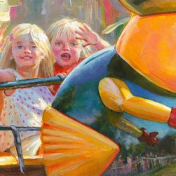 Mr. Bee & Friends Go For A Spin, Original, Painting - I didn't know these kids, but as soon as they saw my camera, they started mugging for it. That happens a lot. Kids these days love being in front of cameras. It's like life is their reality show, and they all want to be stars. They're riding my favorite midway ride, the Bumble Bee Bop.  The painting is initialed on the front, and fully signed on the back.  to pass through customs in the destination country.