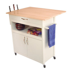 Catskill Craftsmen - Catskill Craftsmen Butcher Block Kitchen Cart in White - Catskill Craftsmen - Kitchen Carts - 16755 - The Catskill Craftsmen Butcher Block Cart brings a refined urban touch to your home. The heavy duty locking casters provide great mobility and make this an easy addition to your kitchen. So cook up a storm with the Butcher Block Cart.