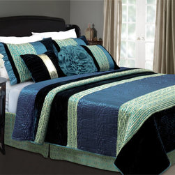 None - Sapphire Velvet 3-piece Quilt Set - This exotic fashion bedding features plush indigo and silky larkspur set within broad ribbons of teal and gold jacquard and the edges are tightly bound for durability. The Sapphire Velvet Quilt Set evokes the ambiance of a medieval kingdom.