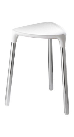 Gedy - White Faux Leather Stool - Stylish, unique stool made of white faux leather and steel.