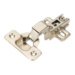 Hickory Hardware - Bright Nickel Slide-On Full Overlay 105 Degree Frameless Hinge - Functionalism is the principal that design is based on the purpose of that piece. Hinges, hooks, catches, drawer slides and screws. All designed for a specific purpose and necessary in every home.