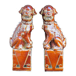 Golden Lotus - Pair Brown Chinese Fen Shui Porcelain Foo Dog Statue Display - This is a pair of Chinese brown Foo Dog which is made of porcelain.