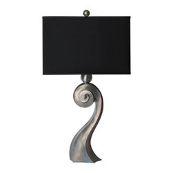 Thumprints - Muse Table Lamp with High Gloss Pewter Finish - - Zinc cast metal lamp with high gloss pewter finish  - Silk hardback rectangle shade  - Bulbs not included Thumprints - 1212-ASL-2090