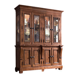 Kincaid - Kincaid Tuscano Solid Wood China Cabinet - China base features four doors, three trays, one adjustable shelf. Base dimensions: height: 36 width: 72 depth: 17china hutch features two door cabinets with open shelving in the center section. hutch dimensions: height: 52 width: 74 depth: 17