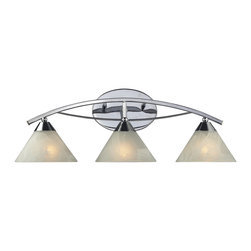 Elk Lighting - Elk Lighting 17023/3 Elysburg Modern / Contemporary Bathroom / Vanity Light - The Geometric Lines Of This Collection Offer Harmonious Symmetry With A Sophisticated Contemporary Appeal.  A Perfect Complement For Kitchens, Billiard Parlors, Or Any Area That Requires Direct Lighting.  Featured In Satin Nickel With White Marbleized Glass Or Aged Bronze Finish With Tea Stained Brown Swirl Glass.