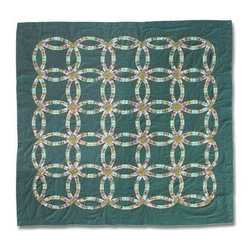 Patch Magic - Green Double Wedding Ring Shower Curtain - 72 in. W x 72 in. L. 100% Cotton. Handmade. Machine washable. Line or flat dry only