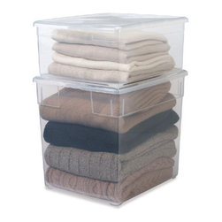 Our Sweater Boxes - It's just about time to pack away the heavy sweaters. Using a clear storage container, like these from The Container Store, will keep your sweaters in view and free of dust until fall.