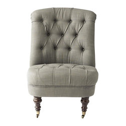 Home Decorators Collection - Jillian Accent Chair - Place our Jillian Accent Chair in any space that needs a little extra style. Featuring a rolled back and tufted, cozy cushioning, this classic piece weds traditional elements with contemporary design for a look that will wow in any room. Your choice of tufted linen cotton upholstery. Solid eucalyptus wood legs in smoke cashew or dark brown finish. Casters on front legs.