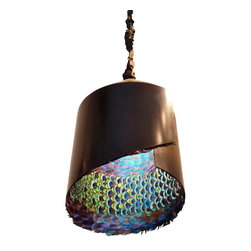ecofirstart - Peacock Feather Pendant - In the natural world, the peacock is known for the big reveal of its gorgeous plumage, and this lamp perfectly reflects that wow factor. This stunning pendant was constructed of recycled and organic materials, including feathers from a peacock that died of natural causes on an avian sanctuary.