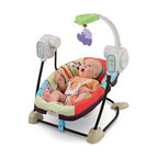 Fisher-Price Space Saver Swing & Seat - Luv U Zoo - Keep baby happy comfy and cozy in the Fisher-Price Space Saver Swing & Seat - Luv U Zoo. This dual-purpose swing and seat is one you'll use again and again.Let's face it we all want luxury recliners. Maybe you already have one but don't leave out baby. This seat features a six-speed adjustable swing. It plays six different tunes to keep the little guy or gal happy. The swing-away toy bar will encourage interaction. But that's not the end of the benefits for this great swing.With a 25-lb. capacity this isn't something you'll need to replace overnight. It also includes soothing vibrations to keep your baby calm while you take care of those vital chores. The five-point harness will give you peace of mind while baby swings away in total security. Best of all it's two products in one! Remove the seat from the swing and voila! It's a baby seat with convenient parent handles. Dual purpose means you save space. Just remember you'll need four(4) C batteries and one (1) D battery to make sure the swinging never stops.Developmental Guidelines: Use from birth until child is able to sit up unassisted.Safety Information: CAUTION This package contains small parts which are for adult assembly only.About Fisher-PriceAs the most trusted name in quality toys Fisher-Price has been helping to make childhood special for generations of kids. While they're still loved for their classics their employees' talent energy and ideas have helped them keep pace with the interests and needs of today's families. Now they add innovative learning toys toys based on popular preschool characters award-winning baby gear and numerous licensed children's products to the list of Fisher-Price favorites.