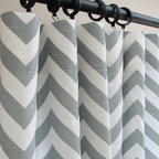 3 Panels of Decorative Designer Custom Curtains by Castle Creek Designs - I love these chevron stripe curtain panels in gray, but I also love the idea of black and white chevron curtains.