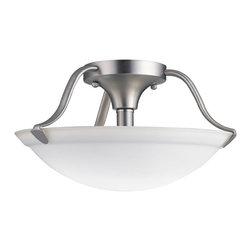 "KICHLER - KICHLER 3620NI Transitional Semi-Flush Mount Ceiling Light - Gently curved Brushed Nickel arms embrace a White Etched glass shade in this Semi-flush ceiling light. 2 lights, 100-W Max (M). Diameter 13 1/2"" and height 7 1/2"". U. S. Patent Pending."