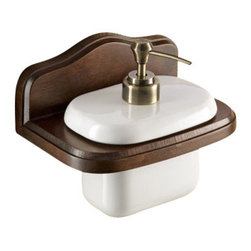 Gedy - Wall Mounted Porcelain Soap Dispenser with Wood Mounting - Wall hung contemporary style square soap dispenser.