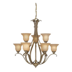 Vaxcel - Tuscan Nine Light Up Lighting Two Tier Chandelier - Antique Brass - Bulb Base: Medium (E26). Bulb Wattage: 100. Bulb Count: 9. Bulbs Not Included
