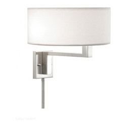 """Sonneman - Sonneman Quadratto Swing Wall Lamp - The Quadratto Swing Wall Lamp by Sonneman has been designed by Robert Sonneman. The Quadratto Swing Wall Lamp features an Off-White linen drum shade that, at the end of the fixed arm, swivels outward to extend its wash of light. Includes a pin-up kit for easy installation and a pull chain for easy light control.  Product description:  The Quadratto Swing Wall Lamp by Sonneman has been designed by Robert Sonneman. The Quadratto Swing Wall Lamp features an Off-White linen drum shade that, at the end of the fixed arm, swivels outward to extend its wash of light. Includes a pin-up kit for easy installation and a pull chain for easy light control.  Details:      Manufacturer:     Sonneman      Designer:    Robert Sonneman        Made in:    USA        Dimensions:     Shade:Width:14"""" (35.56 cm) X Height:6"""" (15.24 cm) Base:Width:4.5"""" (11.43 cm) X Height:5"""" (12.7 cm)  Overall:Height:12.5 (31.75 cm) X Width:14"""" ( 35.56 cm)         Light bulb:     2 X A19 Medium Base Max 60W Incandescent (not included)         Material:     Linen"""